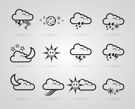 rainy days: set of different grey weather icons