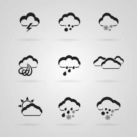 hazy: set of grey weather icons Illustration
