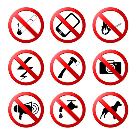collection of ban road signs Stock Vector - 17670859