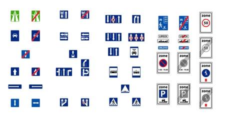 reverse: illustration of rectangle blue road signs Illustration