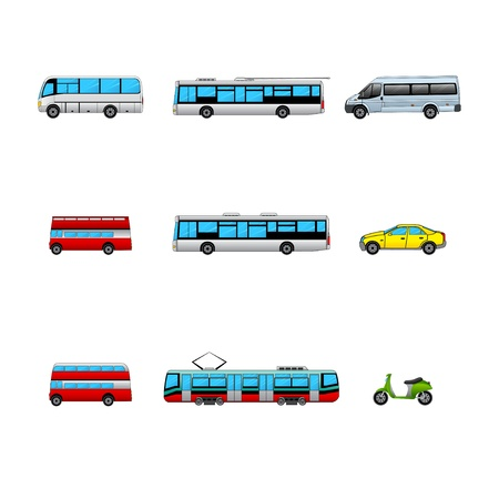 public transport color icons Stock Vector - 17670877