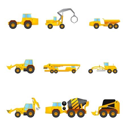 camion grua: conjunto de máquinas de construcción Vectores