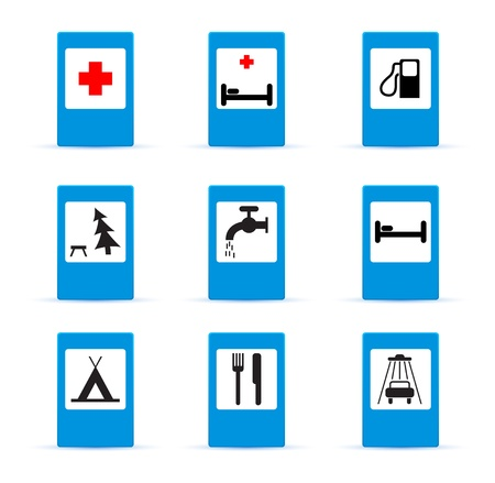 hospital sign: set of european information road signs