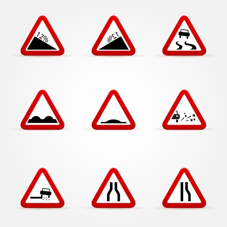 set of warnings road signs Stock Vector - 17670862