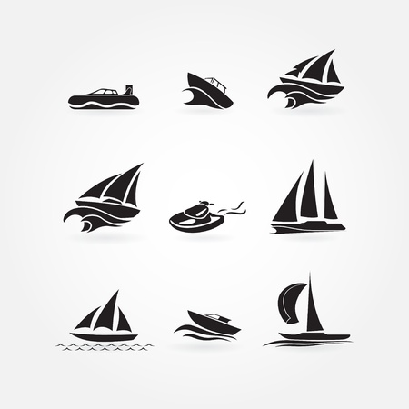 speed boat: Set of yacht icons