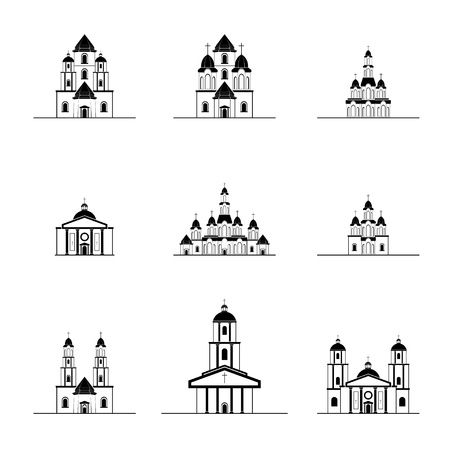 silhouettes of  different churches