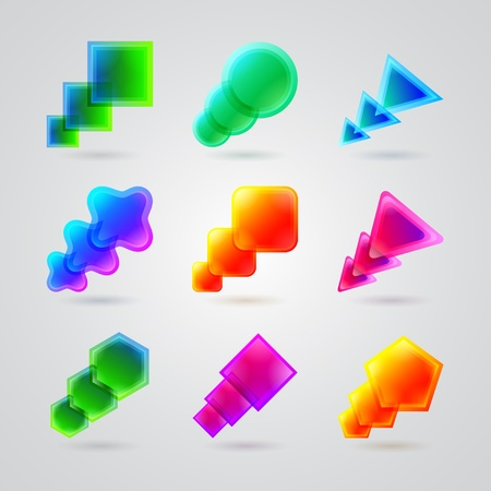 collection of different color figures Vector