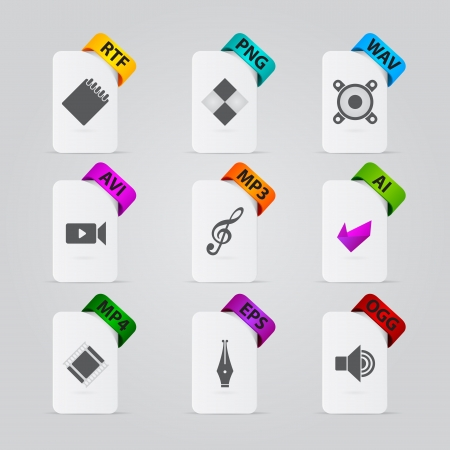 extension: collection of file extension detailed icons Illustration