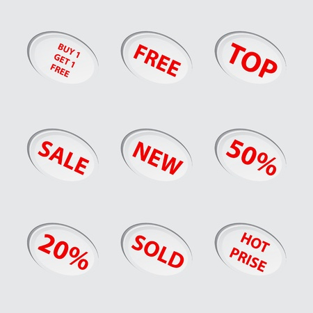 top 50 icon: Collection of red sale icons Illustration