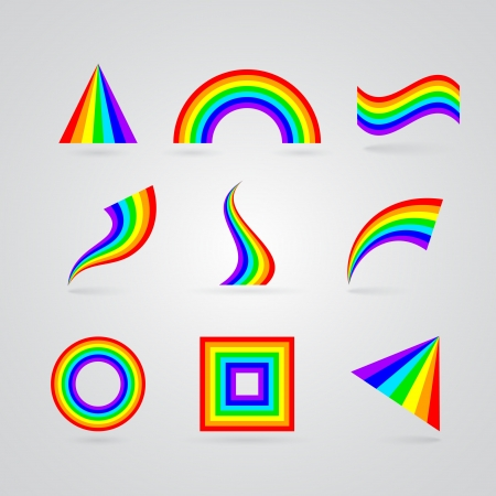multiple image: colorful rainbow symbols for your design