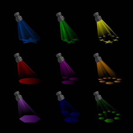 sporlights: Spotlights with Rainbow Colours Illustration