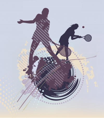 tennis girl: many lines tennis background Illustration