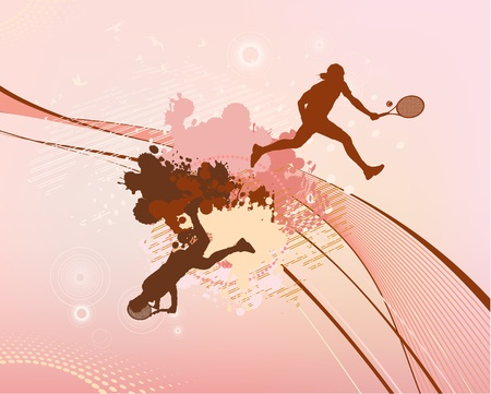 backhand: red stains and blots tennis player Illustration