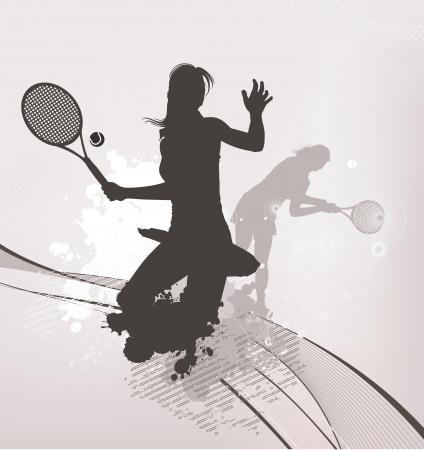 tennis girl background Illustration