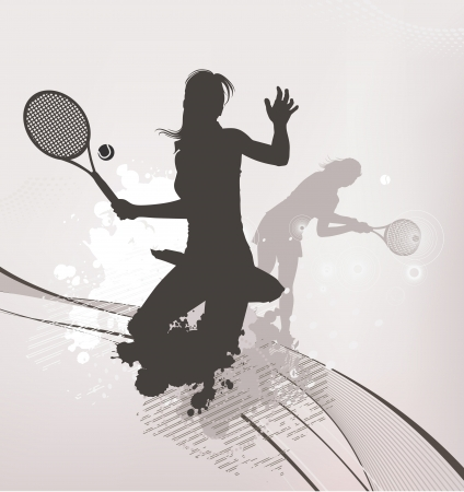tennis girl background Vector