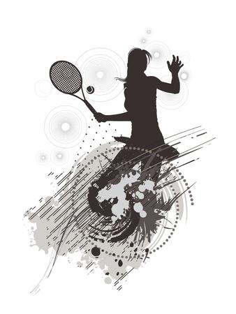 backhand: tennis girl on stain background Illustration