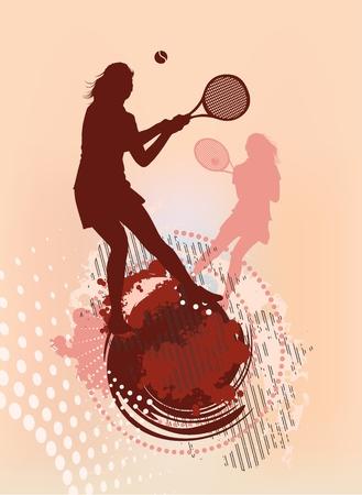 backhand: tennis girl silhouette Illustration