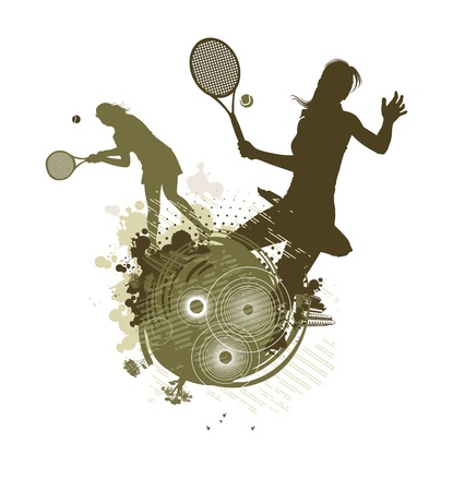 tennis girl silhouettes 向量圖像