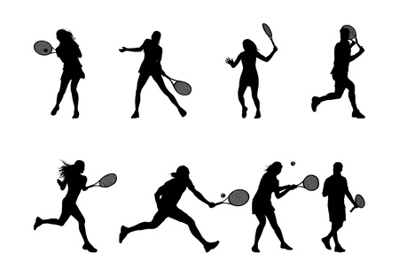tennis serve: tennis player silhouettes and shadows