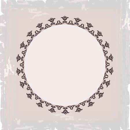 royal frame: background of round floral vintage frame Illustration