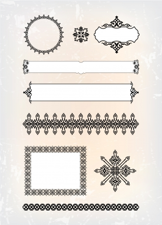 arabesque antique: set of abstract decorative pattern Illustration