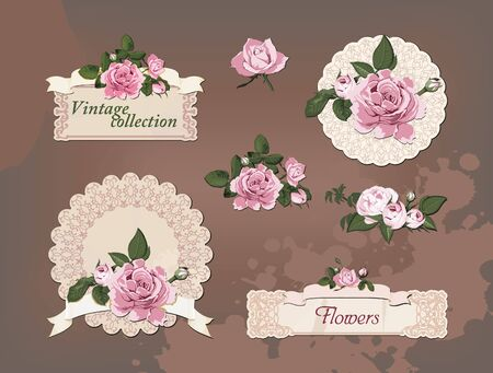 vintage roses: vintage collection of beautiful roses  Illustration