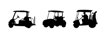 golf cart: golf car Silhouettes