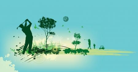 torneio: Silhuetas de golfe em fundo azul