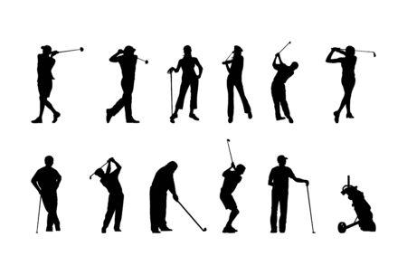 Silhouettes de golf Vecteurs
