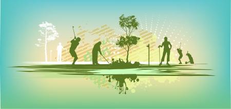 green blot golf club Silhouettes Stock Vector - 18165303