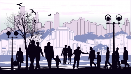 black silhouettes of people on town outline background