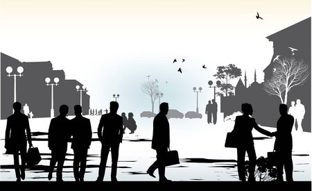 business people in city Stock Vector - 18180869