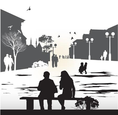suburban street: couple sitting on a bench