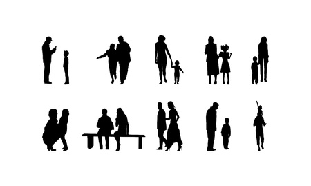 different family silhouettes Stock Illustratie