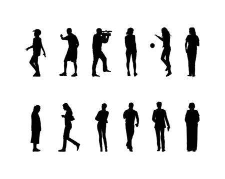 gun silhouette: many black silhouettes