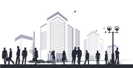 suburban street: many silhouettes in city  Illustration