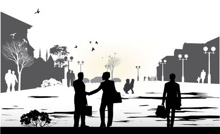 mosque illustration: people gray silhouettes