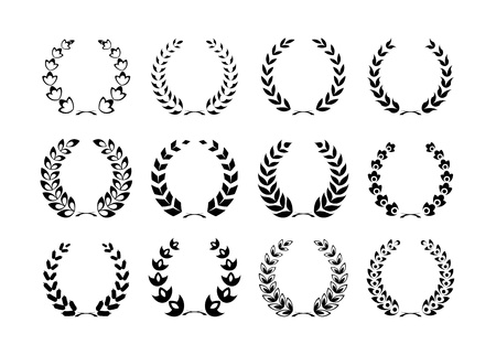 collection of Laurel wreaths 向量圖像