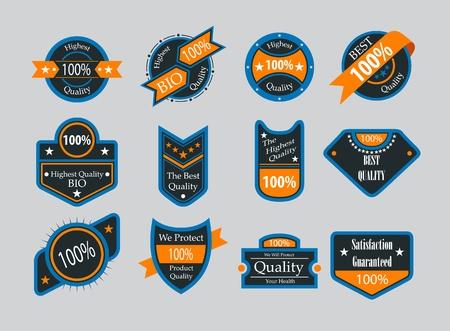 highest: Collection of vintage colorful design labels Illustration