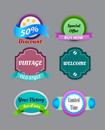 Collection of vintage colorful design labels  Vector