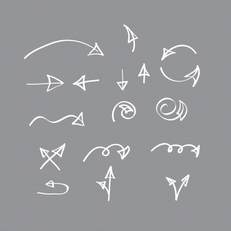 Hand drawn  arrow collection on gray background