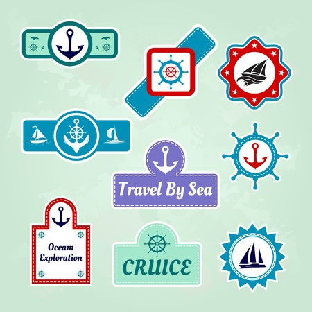 set of sea travel company icons Vector