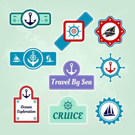sea mark: set of sea travel company icons