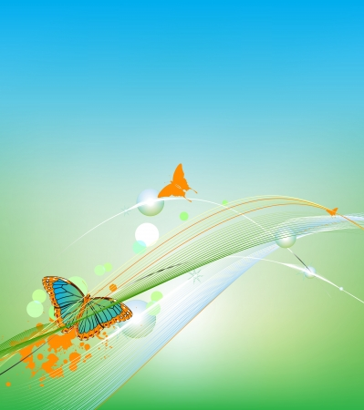 Blue background with beautiful butterflies Vector