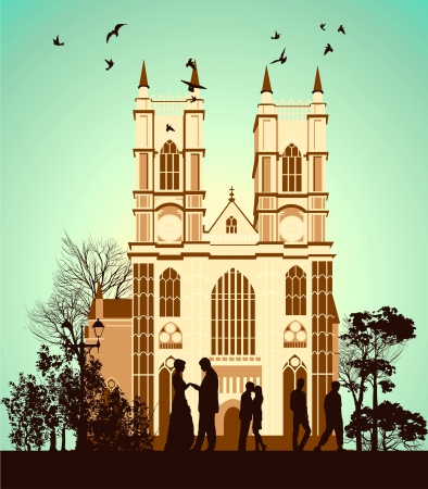 gothic church: Man proposes to woman near the Catholic Cathedral