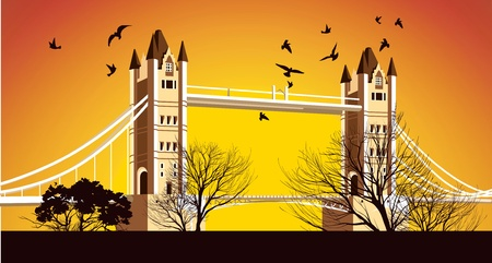 Old British Bridge with birds around Stock Vector - 18844351