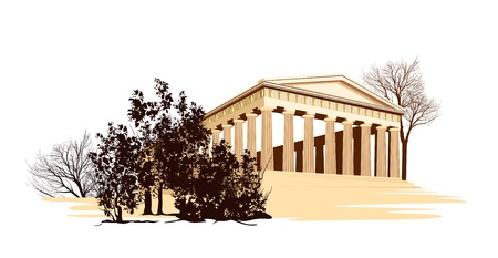ancient greece: ancient historical temple in Greece Illustration