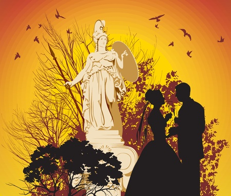 glases: wedding couple with glases on the statue of Athena background