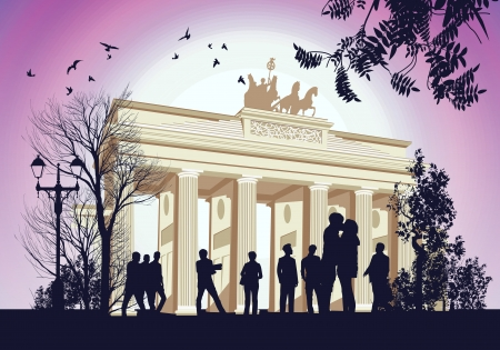 Many people gathered at the square near the Brandenburger Gate ancient gateway to Berlin, Germany Vector