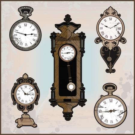 mantel: collection of retro clocks Illustration